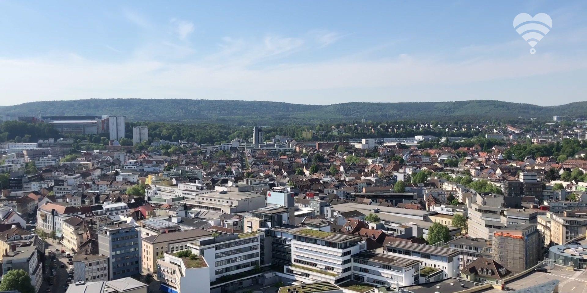 Luftansicht der Stadt Kaiserslautern