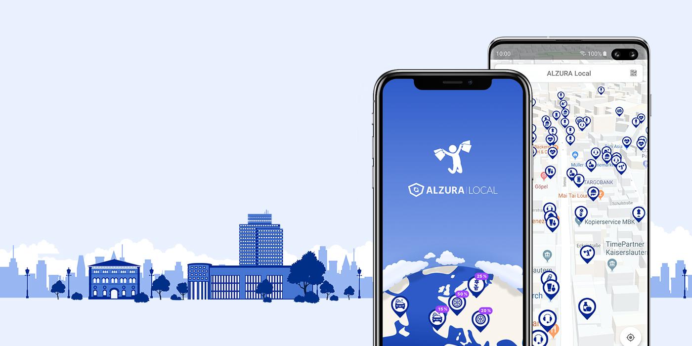 Ansicht der App Alzura Local auf zwei Smartphones