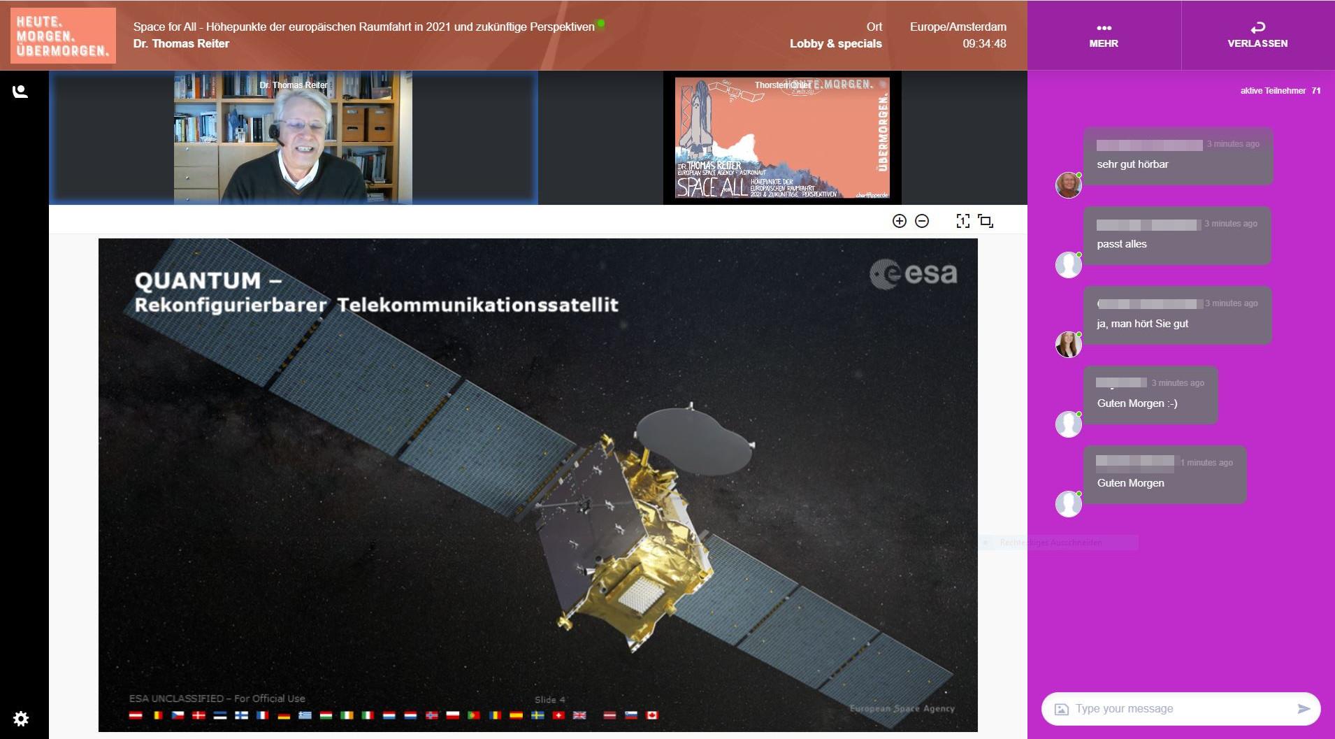 Screenshot eines Onlinevortrages mit Thomas Reiter