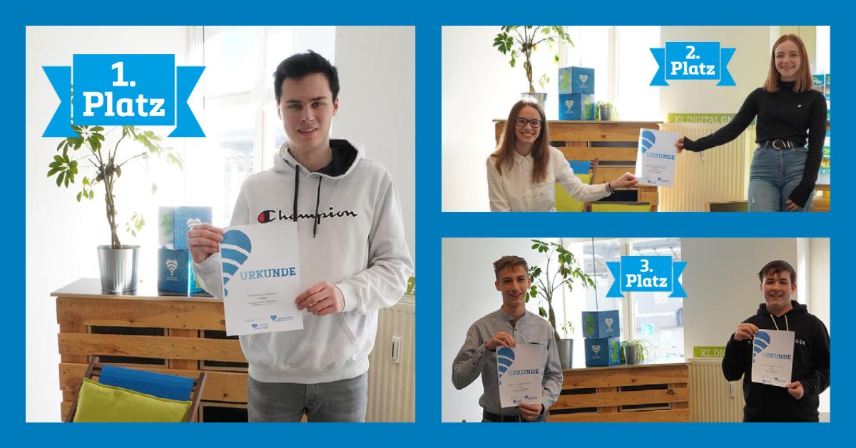 Collage mit drei Fotos von Jugendlichen, die Urkunden in der Hand halten.
